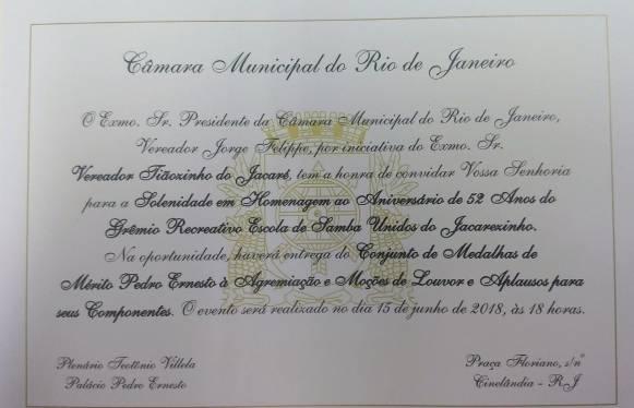 Convite Medalha Pedro Ernesto