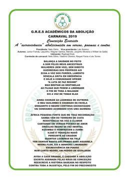 GRES Acadêmicos da Abolição - Letra do Samba Enredo 2019