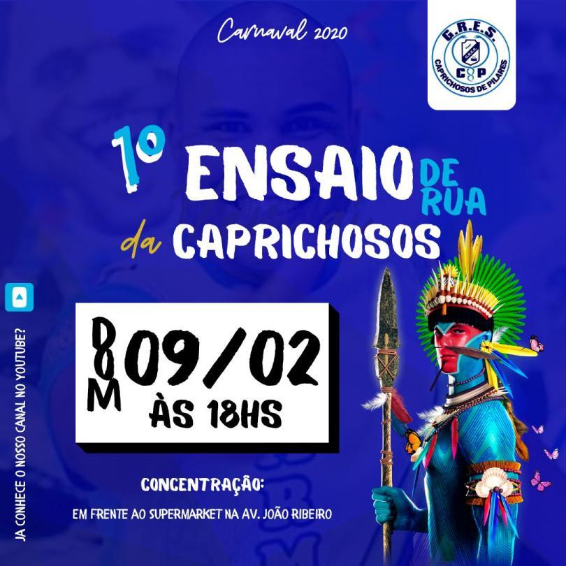 Arte divulgação do Ensaio Técnico de Rua - carnaval 2020